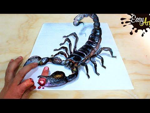 Drawn scorpion realistic Illusion YouTube 3D  3D