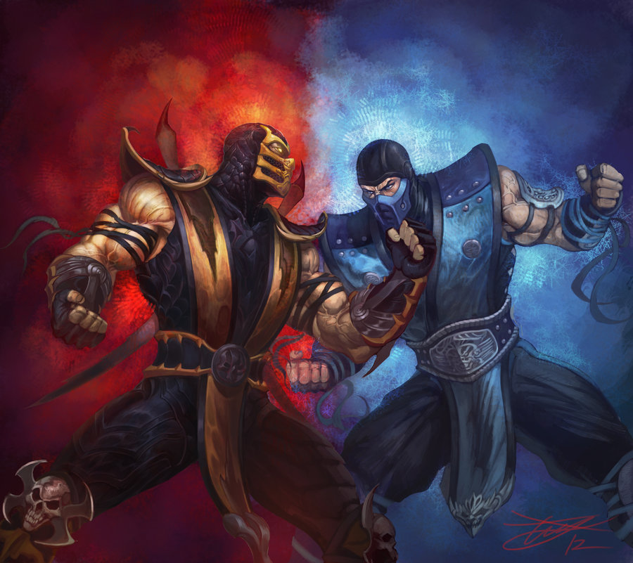 Drawn scorpion sub zero Kombat Hee zero Mortal Sub