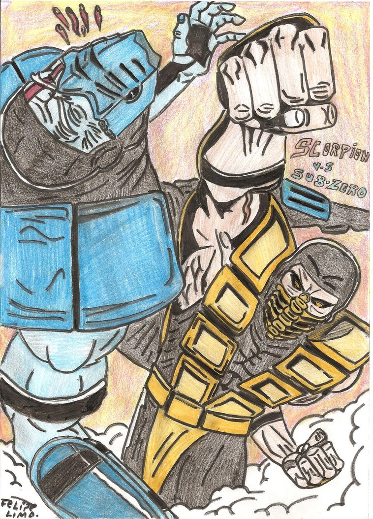 Drawn scorpion sub zero Scorpion Drawing Drawing Scorpion Kombat