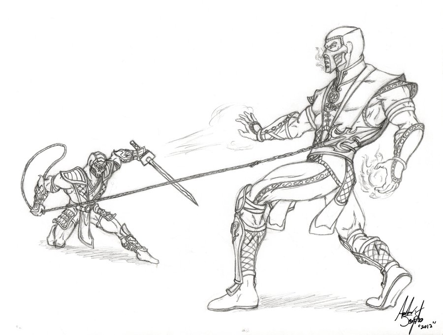 Drawn scorpion sub zero Scorpion drawing Scorpion Mortal kombat