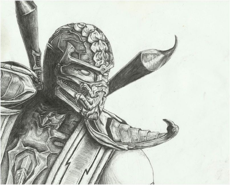 Drawn scorpion two Drawing Kombat Characters Drawing Mortal