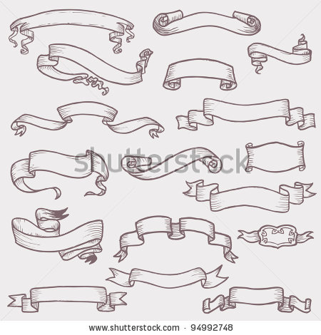 Drawn scroll banner design Vector Old : and ribbon