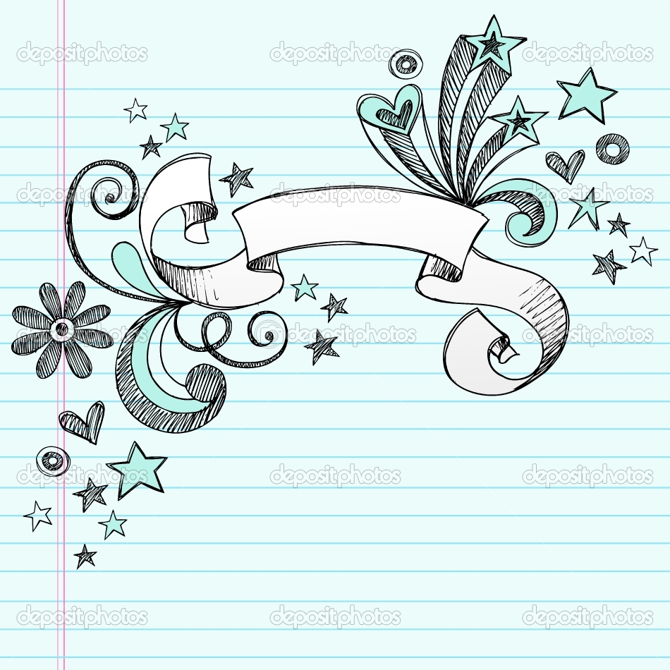 Drawn scroll doodle And  Notebook with Stars