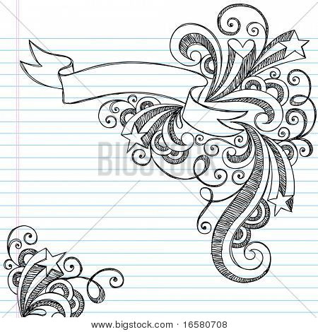 Drawn scroll doodle Vector with with and Swirls
