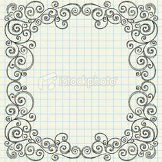 Drawn scroll doodle Flowers Notebook Vine with Vector