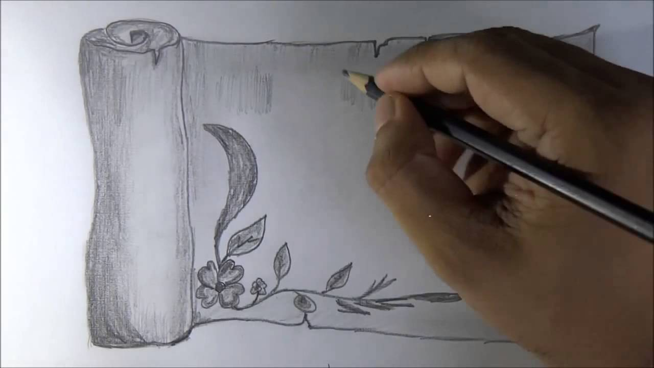 Drawn scroll paper border To How draw with a