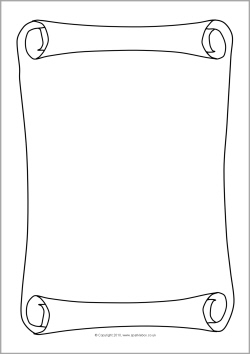 Drawn scroll paper border A4 Scroll/parchment SparkleBox page borders