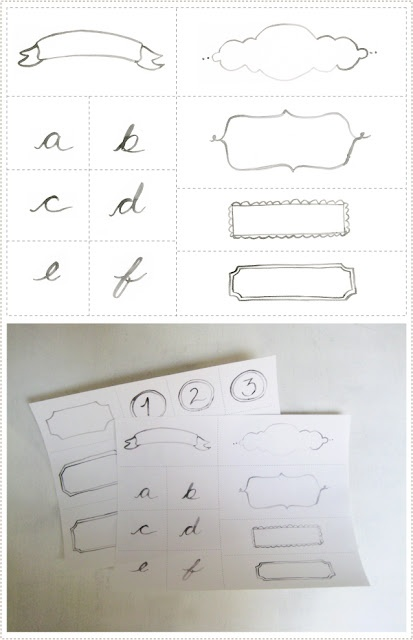 Drawn scroll printable About Labels Hand Heart and