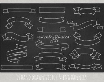 Drawn scroll printable Logo Vector art 16 banner