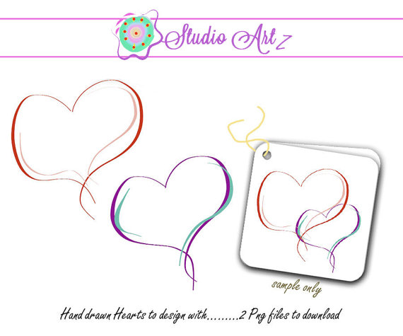 Drawn scroll printable Printable Clip Hearts Heart from