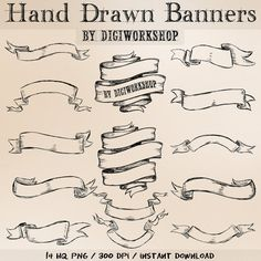 Drawn scroll ribbon Banners Hand hand hand Banners