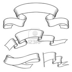 Drawn ribbon scroll Banners  vector Stock vintage