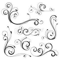 Drawn scroll swirl Ornamente  vector tattoos by