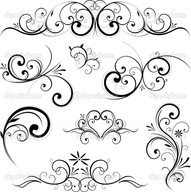 Classical clipart floral scroll #4