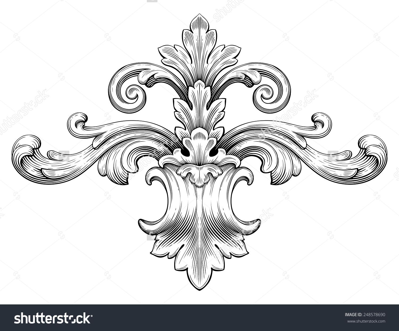 Drawn scroll swirl Style Baroque Border Retro Pattern