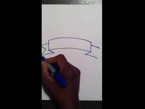 Drawn ribbon title Una How bandera dibujar by