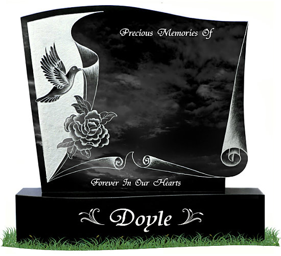 Drawn scroll tombstone Gravestones base in and Black