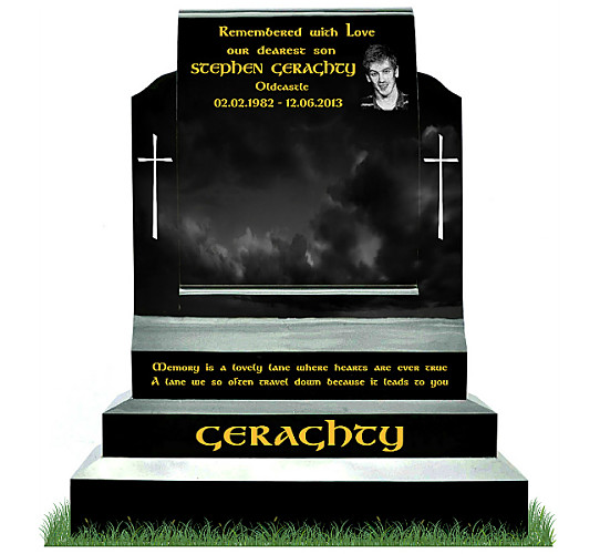 Drawn scroll tombstone Gravestones Black Granite in Etched