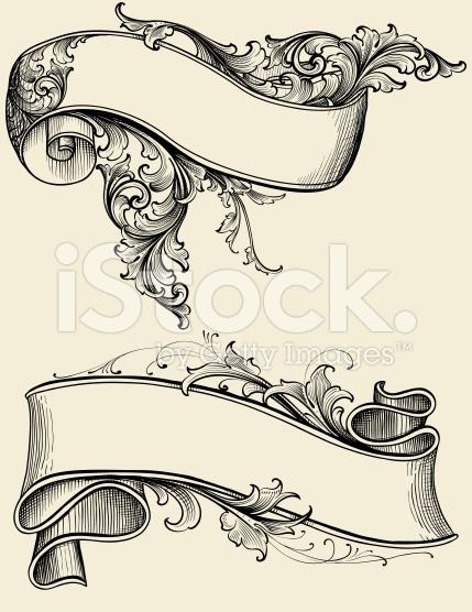 Drawn scroll vector art Floral of  vector art