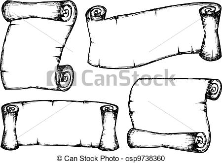 Scroll clipart draw Scrolls Vintage 1 of Vector
