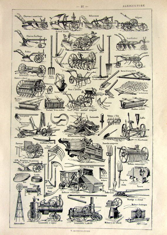 Drawn scythe agricultural TOOLS Pinterest Antique french on