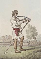 Drawn scythe american Piotr a scythe peasant Scythe