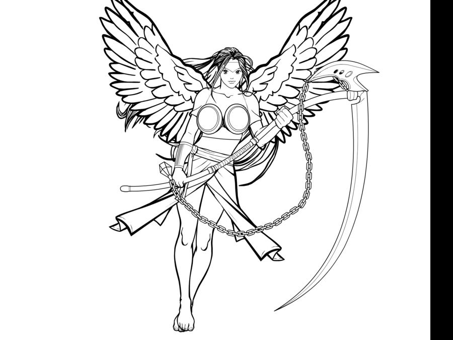 Drawn scythe angel B/w on with scythe by