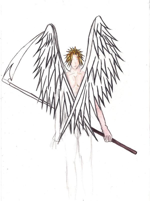 Drawn scythe angel On by RyotaIshiguro DeviantArt Scythe_Angel_Sketch