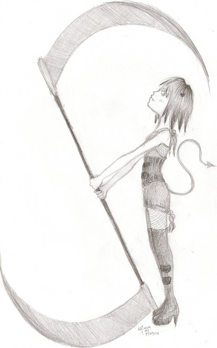 Drawn scythe anime double By by Lil on Kitty