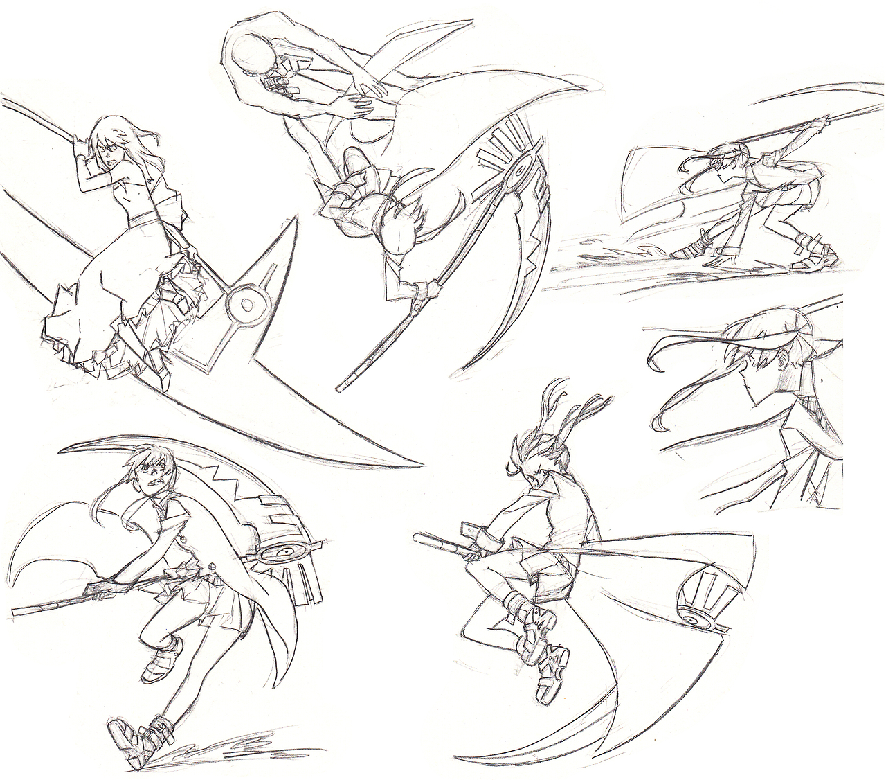 Drawn scythe battle Jazzie560 action/fight poses action/fight in