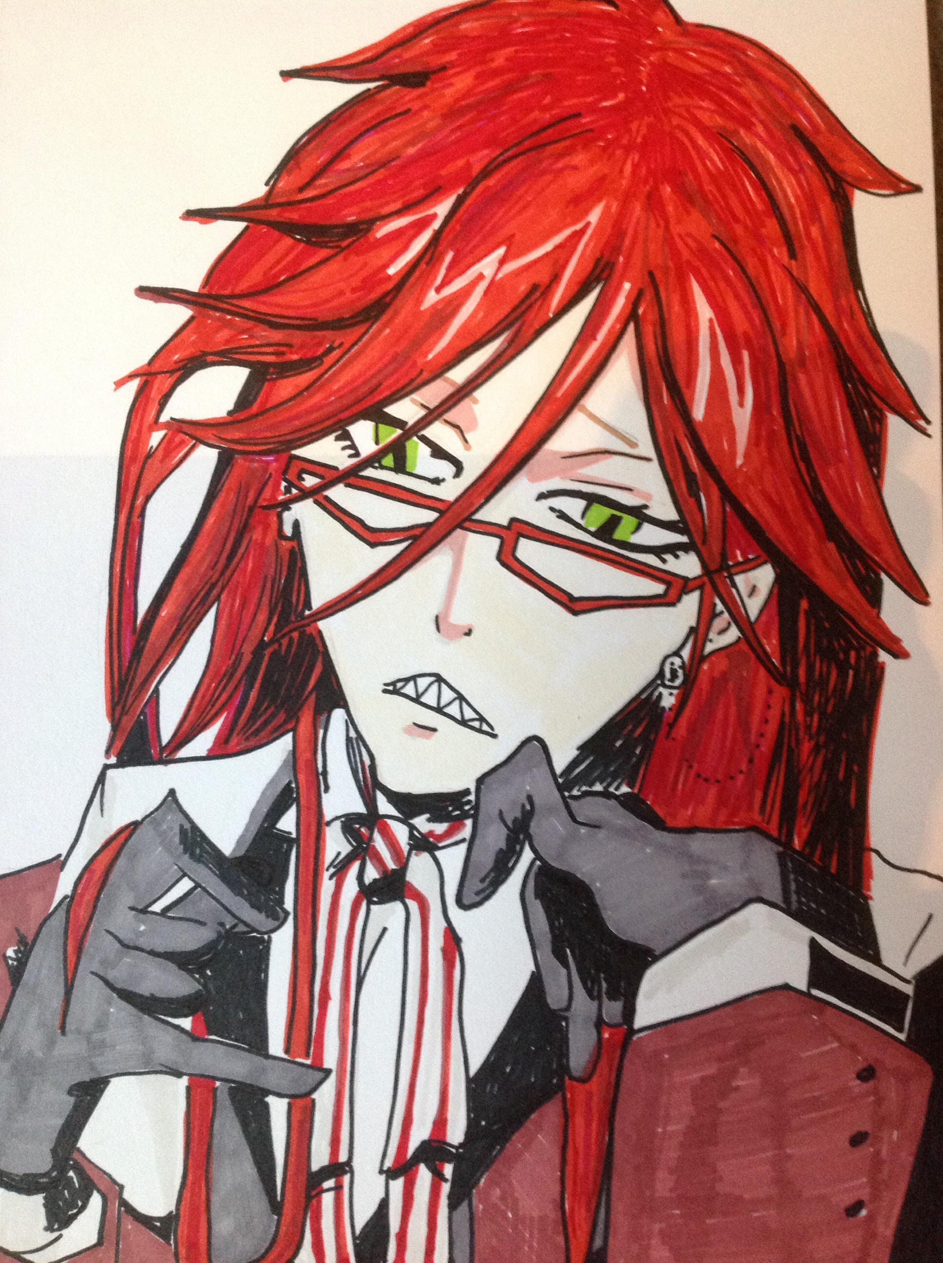 Drawn scythe black butler Red scythe Grell Sutcliff Grell