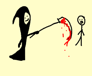 Drawn scythe bloody Man with tries man stab