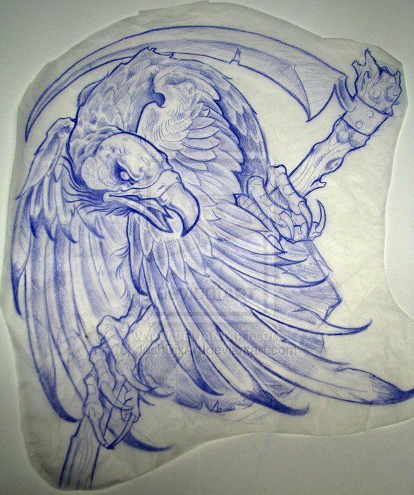 Drawn scythe blue Desenho neo de on Rose