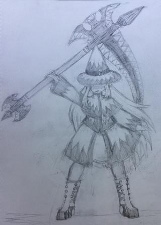 Drawn scythe blue Wip A ocs scythe by