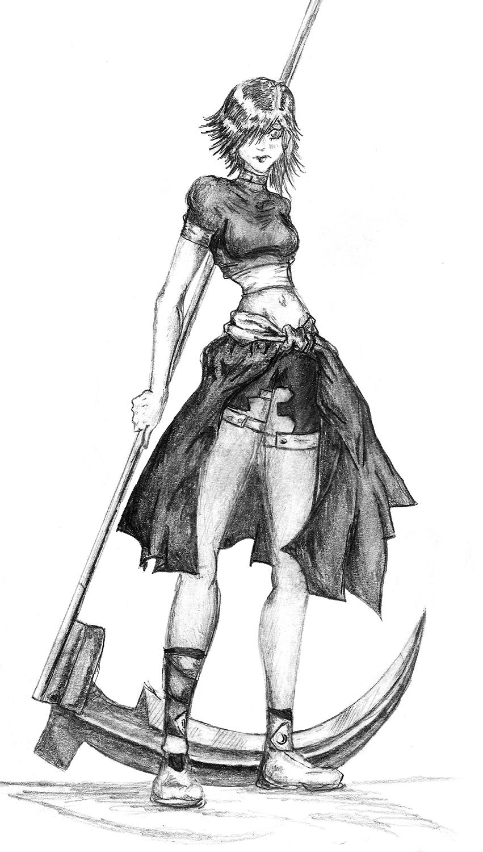 Drawn scythe cartoon Old by scythe on girl