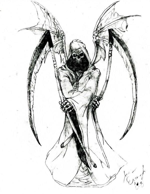 Drawn scythe crossed Design tattoo scythe tattoo two