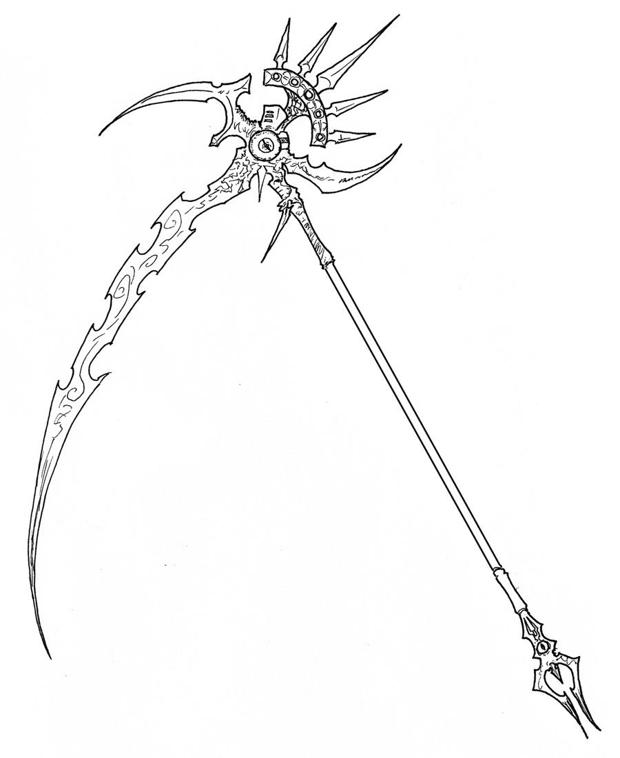 Drawn scythe demonic Scythe Psychorror by Psychorror by