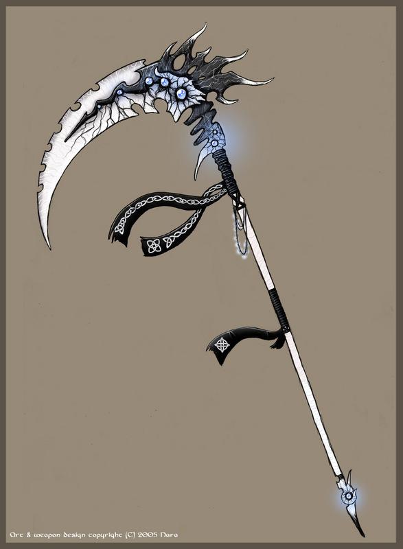 Drawn scythe demonic  Scythe Scythe