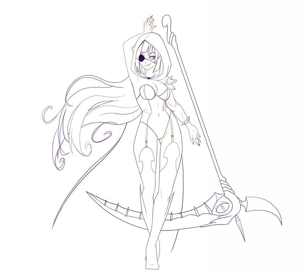 Drawn scythe demonic Concept line line by concept