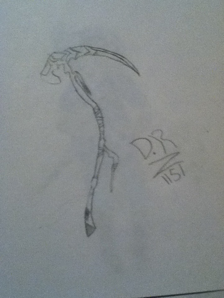 Drawn scythe double bladed Felixe's bladed by on DarkRaven1151