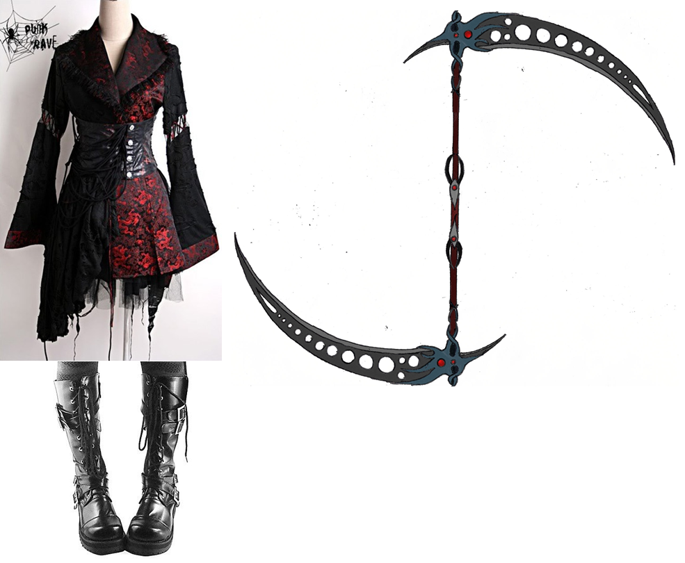 Drawn scythe double bladed Double Red DeviantArt on Cremilia2