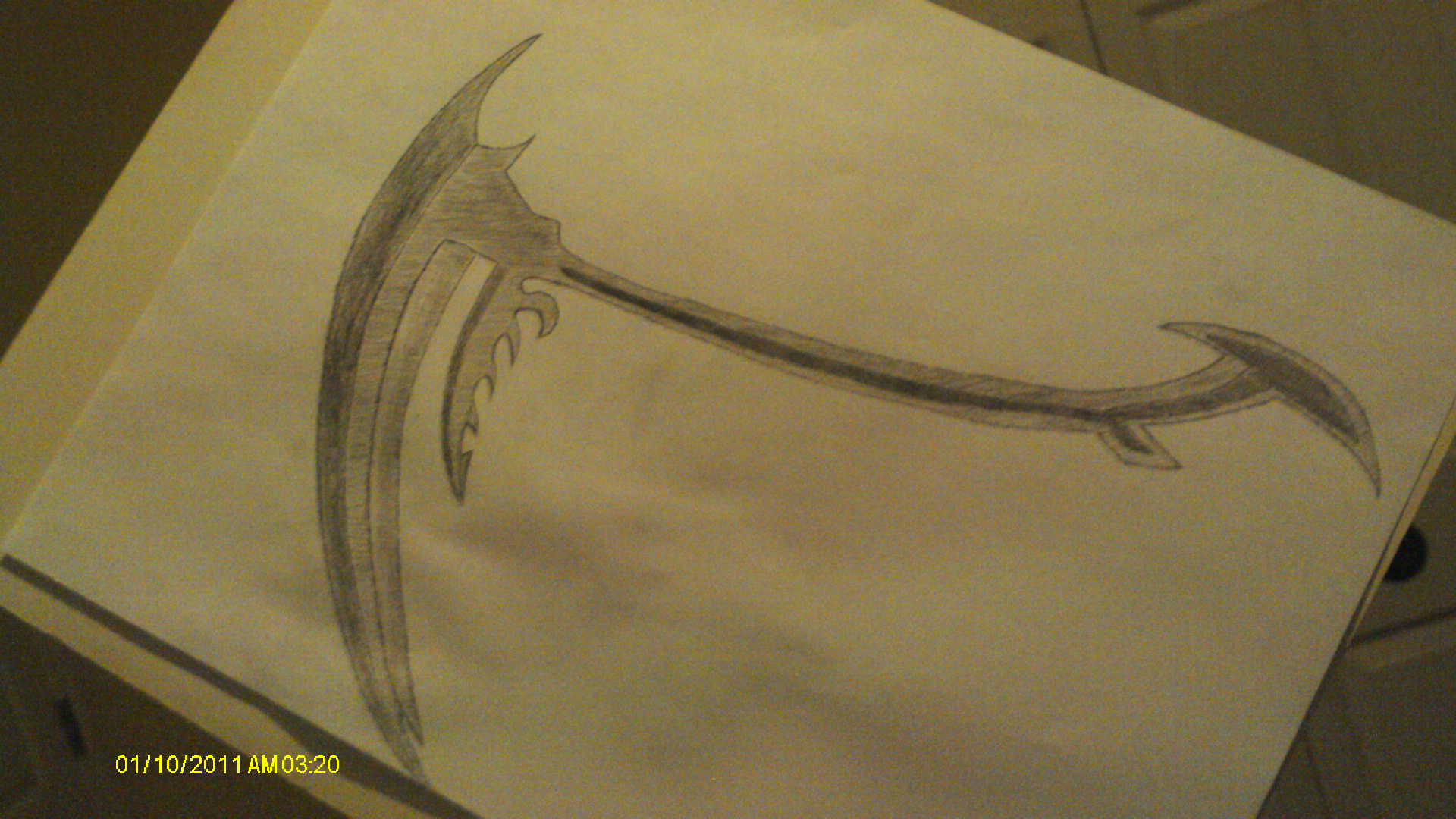 Drawn scythe double edged Bottom  Messora teeth signify
