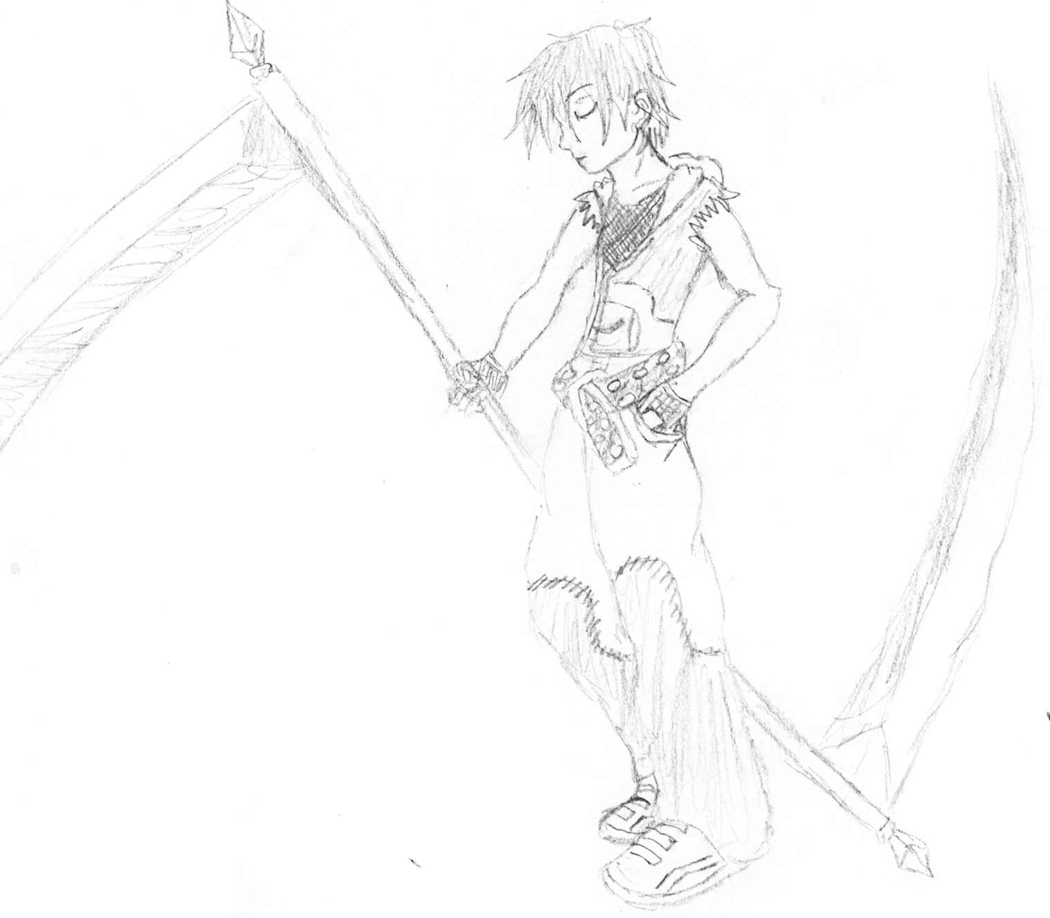 Drawn scythe double sided By by Double QuestionableSinz Double