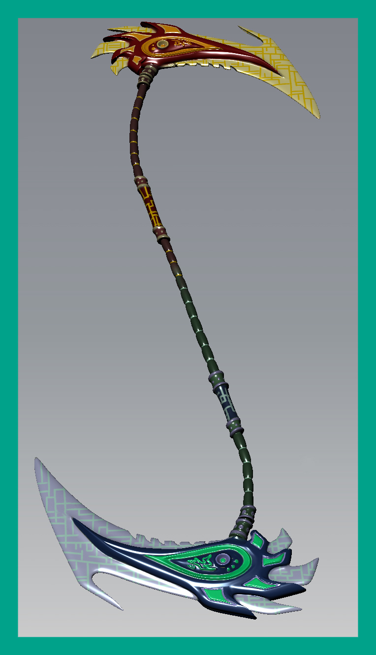 Drawn scythe double sided 3d by Double Gallery Codebreaker