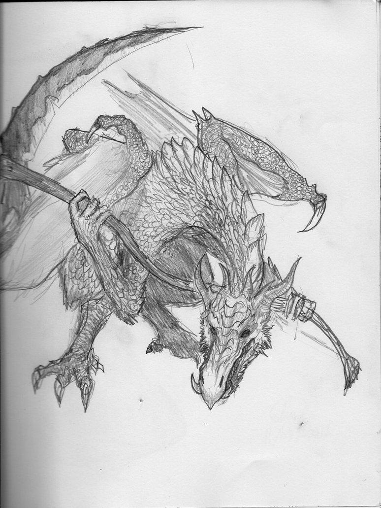 Drawn scythe dragon TheWolverineCello 2 Scythe 2 TheWolverineCello