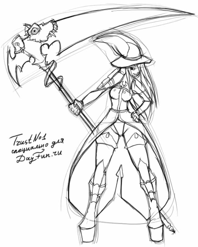 Drawn scythe drawing By step How step a