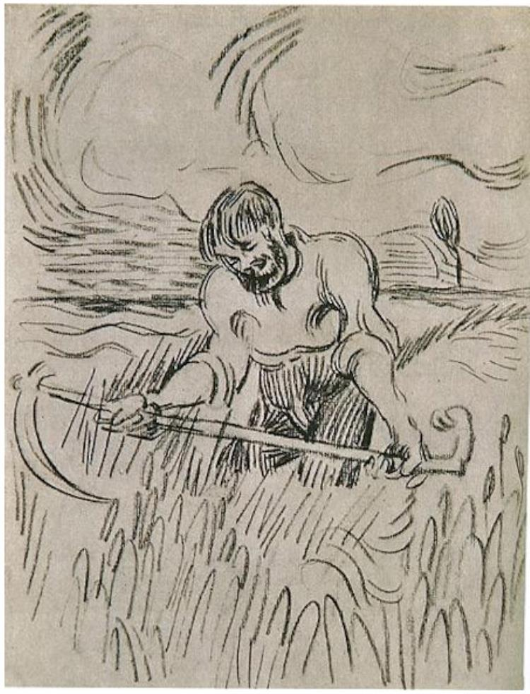 Drawn scythe european Scythe in Wheat Field Man