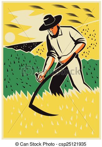 Drawn scythe farmer Farmer scythe Illustration harvest of