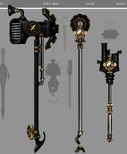 Drawn scythe futuristic More pipes lots objects metallic