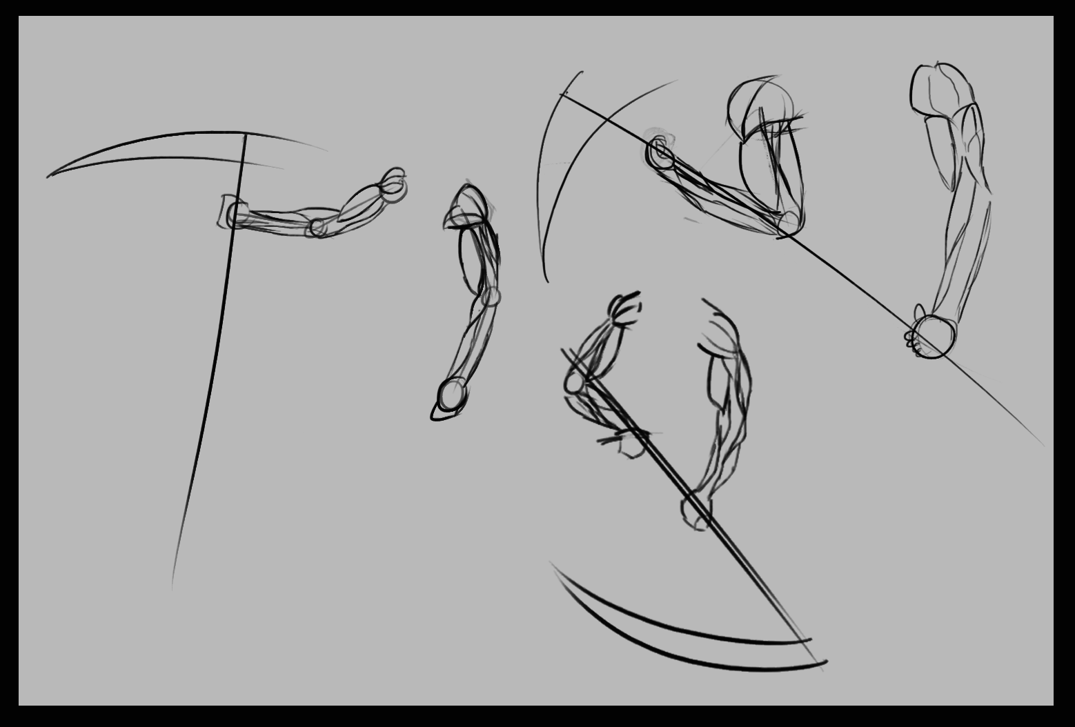 Drawn scythe headed Holding studies SketchDaily : Some
